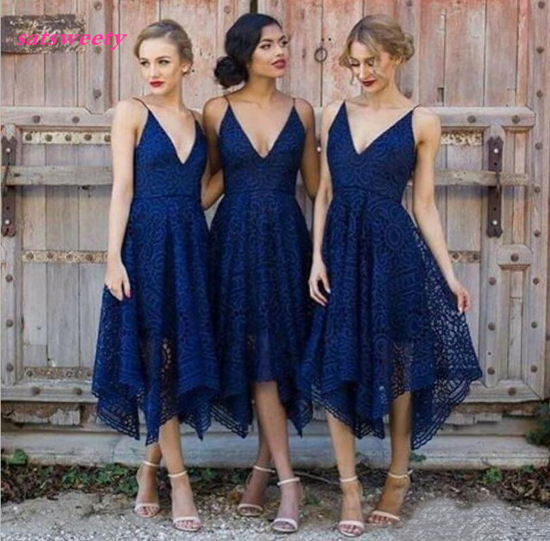 Bridesmaid Dresses New Style Elegant Tea Length Blush Pink Lace Irregular Hem V Neck Maid of Honor Country Wedding Guest Gowns