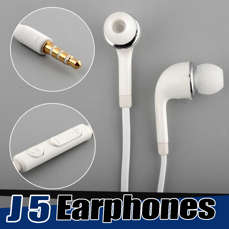 500PCS Lot NEW 1 2m Mic and volume control Stereo J5 earphones In Ear wired Earphone