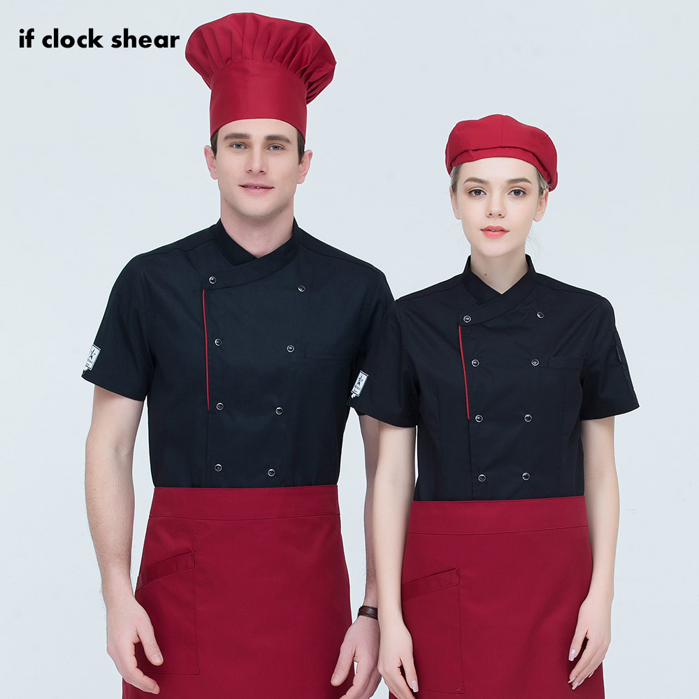 Us 7 03 29 Off Restaurant Uniforms Shirts Unisex Short Sleeved Cooker Work Shirts Restaurant Kitchen Chef Jacket Food Service Chef Work Clothes In