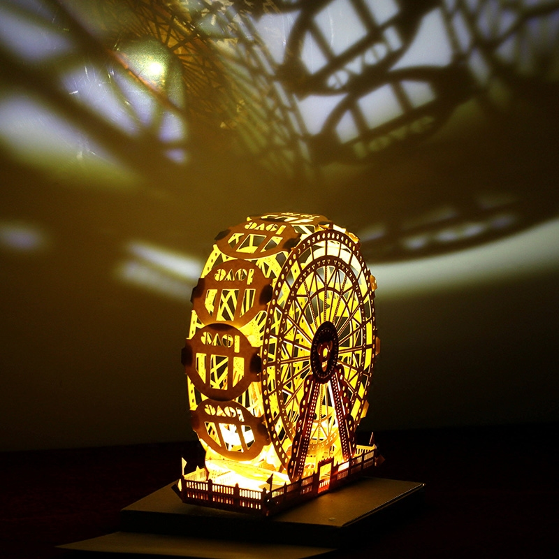 Paper carving art, hand-assembled, the most romantic Ferris wheel light ...