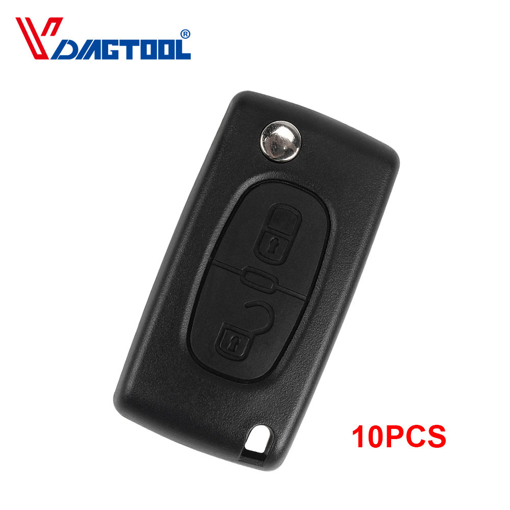 10pcs Replacement 2 Buttons Remote Car Key Shell For Peugeot Fob Key Case Blank With Battery Place(CE0536) With Groove Blade image