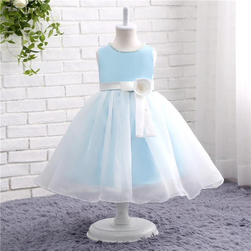 Robes de Communion sainte col rond sans manches bleu clair pour filles robe de Communion 12802