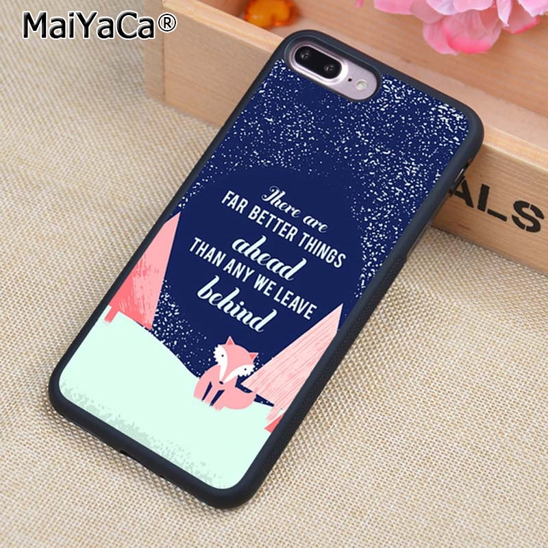 MaiYaCa Life Quote Cute Fox Animal Phone Case Cover For iPhone 5 6s 7 8 plus 11 pro X XR XS max Samsung S6 S7 S8 S9 S10