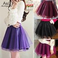 Women Tutu Skirts Fashion Organza Skirt High Waist Pettiskirts Slim A-line Casual Skirt 12