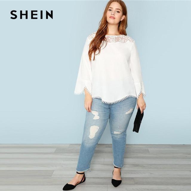 SHEIN Plus Size White Sheer Lace Shoulder Trim Flare Sleeve Women Blouses Spring Summer New Elegant Wavy Hem Solid Top Blouse 3