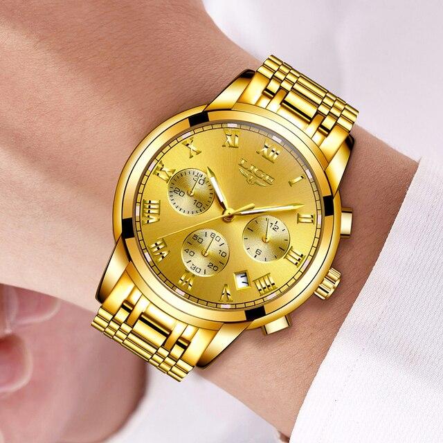 LIGE Men's Fashion Brand Multifunction Chronograph Quartz Wristwatches 5