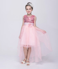 Flower Girl Dress Sequin Mesh Party Wedding Princess Tulle 10 Colors 2017 Summer Children Clothes Size 3-12 Pageant Sundress