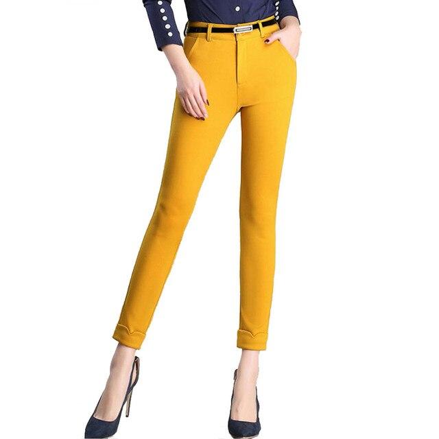 Comercio al por mayor Mujer Tobillo-Longitud Pantalones Nuevo Tramo Delgado OL Pantalones Flacos Formales Pantalones Casuales Mujeres 4XL Tamaño Grande Para Mujer trabajo Amarillo