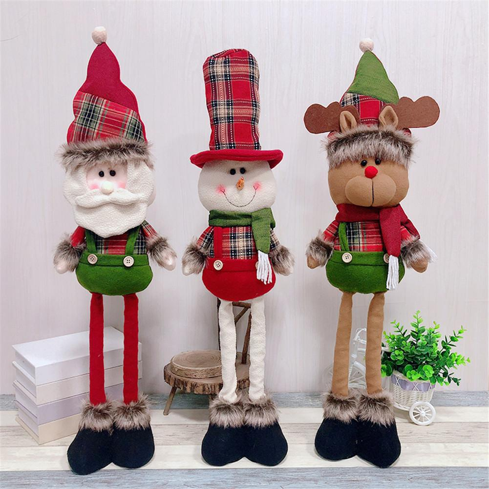 Christmas Decoration Ornament Figurine Santa Claus Snowman Doll Stretch Doll Christmas Gift short tall change