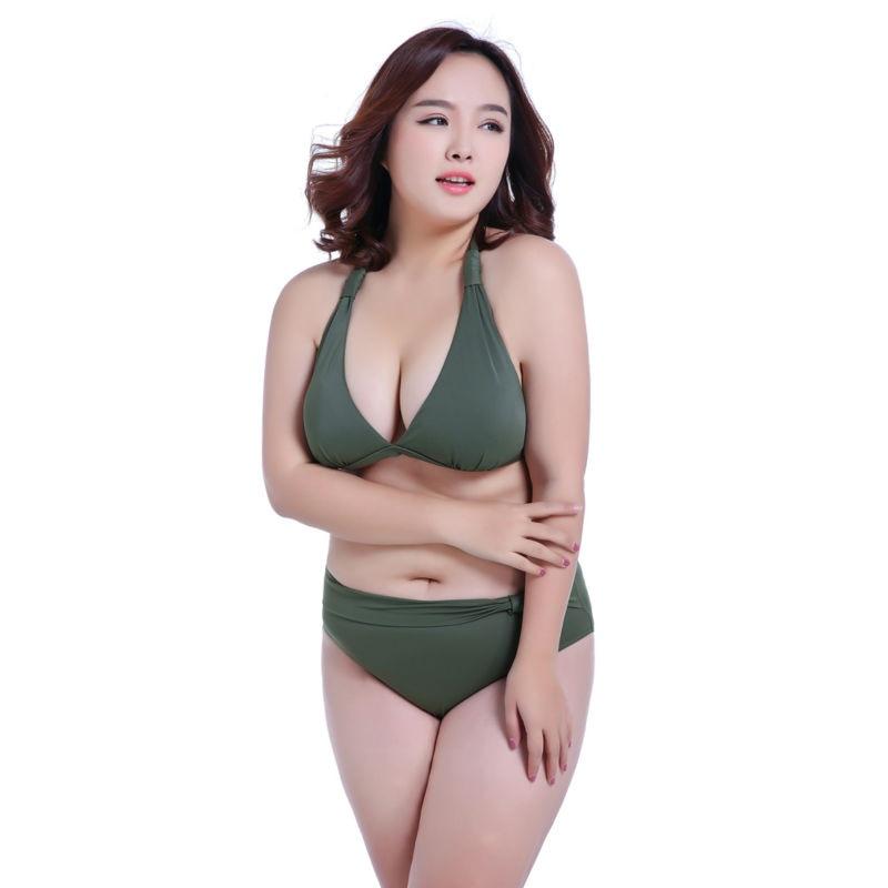 SexeMara 2017 Push up Mid Waist Swimsuit Women Bathing Suit Padded Bikini set Retro Beachwear Plus Size Swimwear XL-7XL
