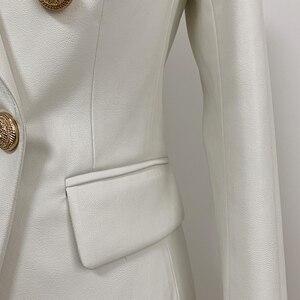 Image 4 - 最新バロックファッション 2020 デザイナーブレザージャケット女性のライオン金属ボタンフェイクレザーブレザー外皮