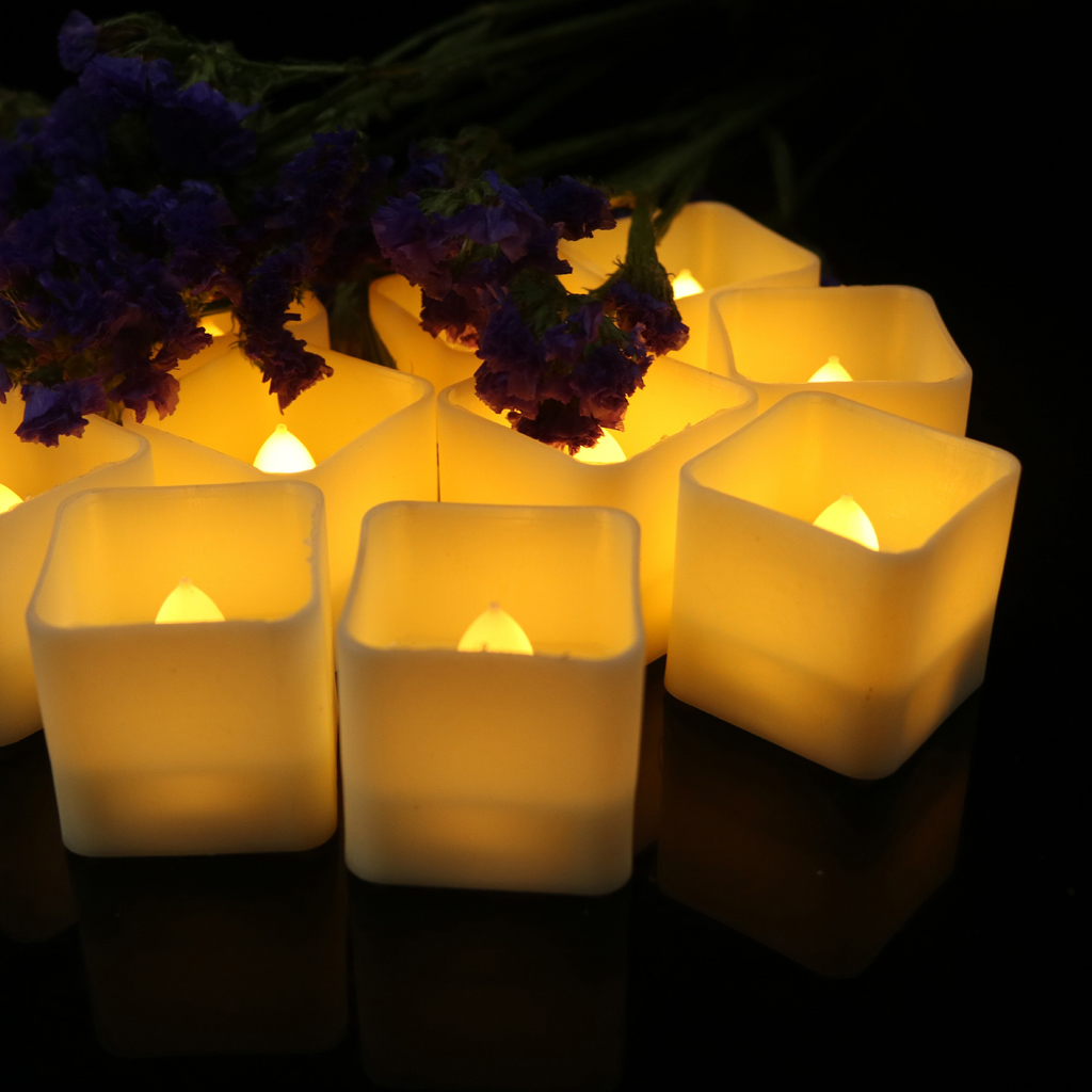 Baoblaze 12-Piece LED Tea Light Candles Flickering Flameless Candle for Wedding Decoration