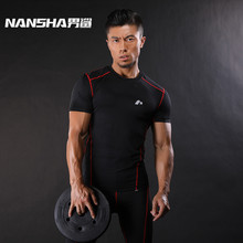 NANSHA Brand Mens Compression Shirts Bodybuilding Weight lifting Base Layer Fitness Tight MMA Crossfit Tops Green,Gray,Red Line