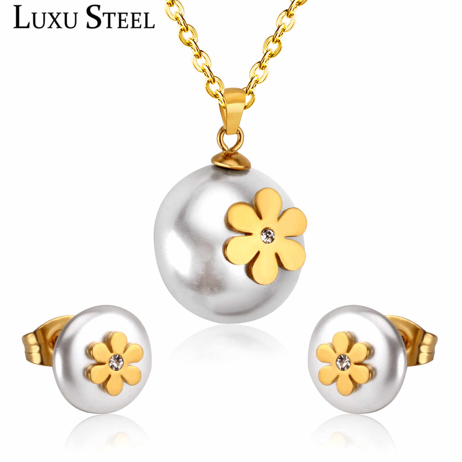 LUXUSTEEL Gold Flower Jewelry Sets Stainless Steel Gold/Silver White Imitation Pearl Pendant Necklace Daily Wear Party Gift
