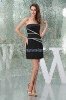 Vận chuyển miễn phí modest 2016 thiết kế mới nóng kích cỡ tùy biến/màu mini sexy gown ngắn đen performance dresses đen Bridesmaid ăn mặc