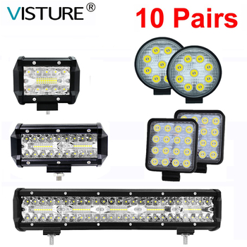 10 Pair Car Work Light Bar 72W 300W Car Led Headlight for Offroad Truck Tractor Trailer SUV ATV 4WD Driving Off Road Spot Flood