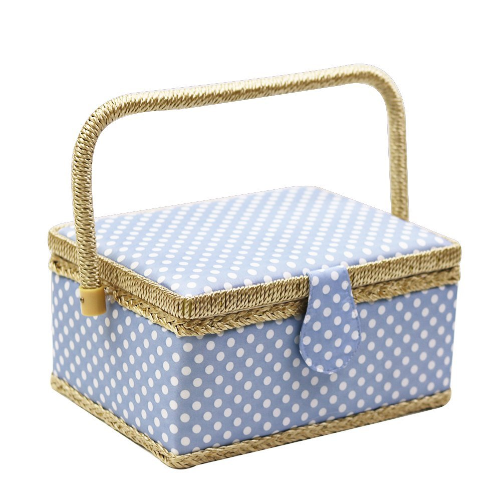 2019 New Handmade Sewing Basket With Sewing Kit Accessories Fabric Crafts Sewing Tools Storage Box Christmas Box Gift