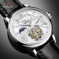 UHONOUR Swiss Top Brand Men's Tourbillon Mechanical Watch Crocodile Leather Seagull Movement ST8007 Men Watches Moon phase 5ATM