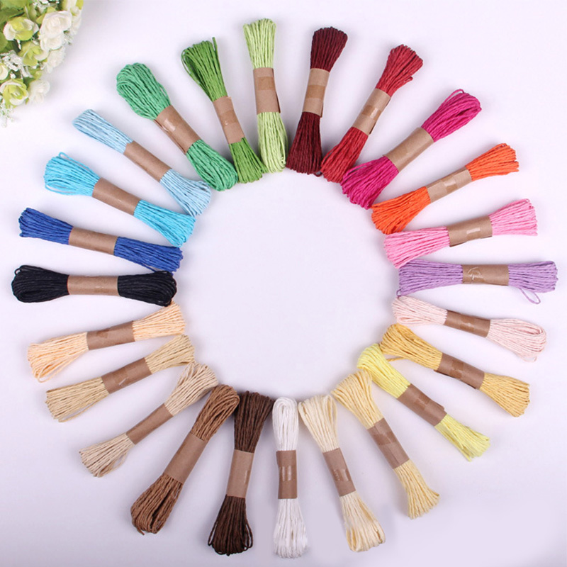 10meter/lot Multi Color Natural Paper Cord String Kindergarten Home Decor DIY Handcrafts Paper Rope Material Accessories LX399