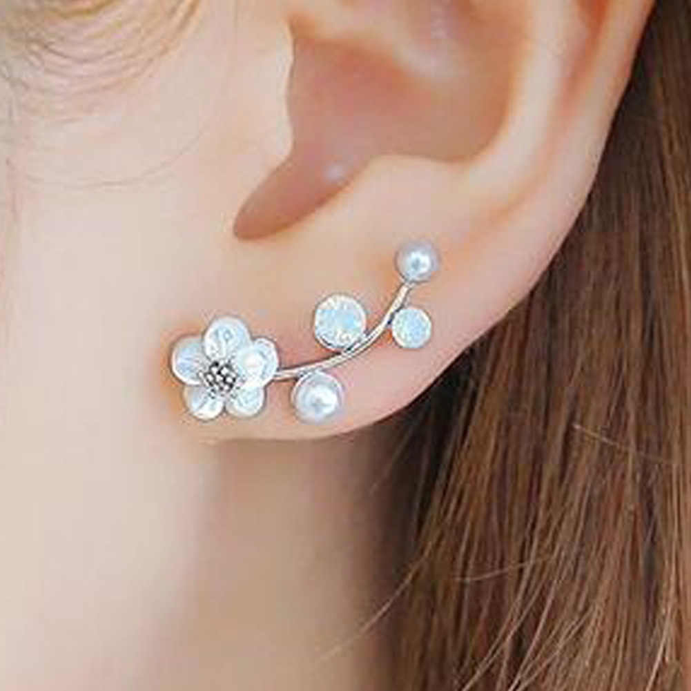 New Hot sale earrings Fashion  Jewelry imitation Pearl Shell Flower Leaves Branches Gift  Alloy Stud Earrings For Women