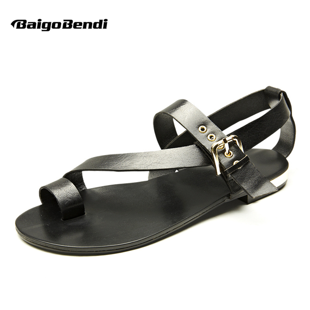 6fa246233 US-5-11 Men Genuine Leather Casual Beach Flat Thongs Roman Flip Flop  Gladiator