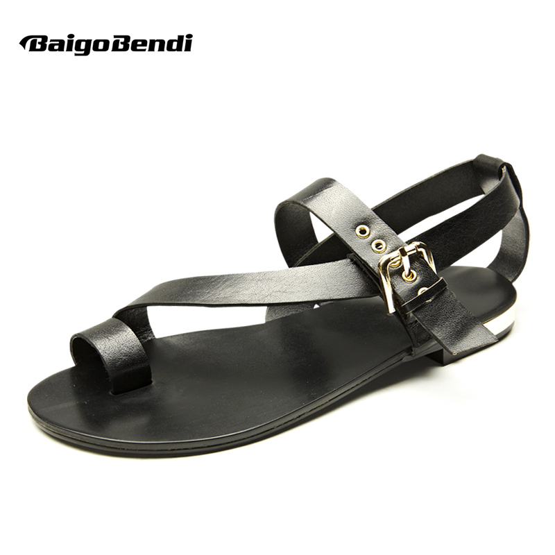 US-5-11 Men Genuine Leather Casual Beach Flat Thongs Roman Flip Flop Gladiator Summer Sandals Outdoor Slides Shoes
