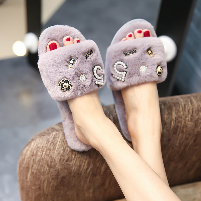 2cb54a9e3 brand designer perfume decoration fur slippers women winter flip flops  camellia pearl beading fur sandals women