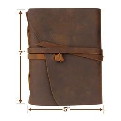 Ручной работы из натуральной кожи Тетрадь журнал 5x7 cm Environmetal Бумага Винтаж связаны Тетрадь Ежедневник для мужчин и женщин