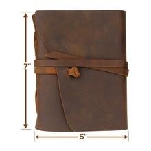 Handgjord äkta läder anteckningsbokstidskrift 5x7 tums Miljömässigt papper Vintagebundet anteckningsblock Daglig anteckningsblock för män och kvinnor