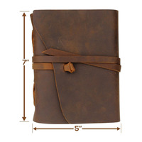 Handmade Genuine Leather Notebook Journal 5x7 Inches Environmetal Paper Vintage Bound Notebook Daily Notepad For Men & Women