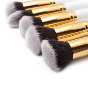 Image 2 - Jessup Brush Professional 10pcs Kabuki White/Gold Makeup Brushes Set Beauty Foundation Cosmetics Make up tools Synthetic Hair