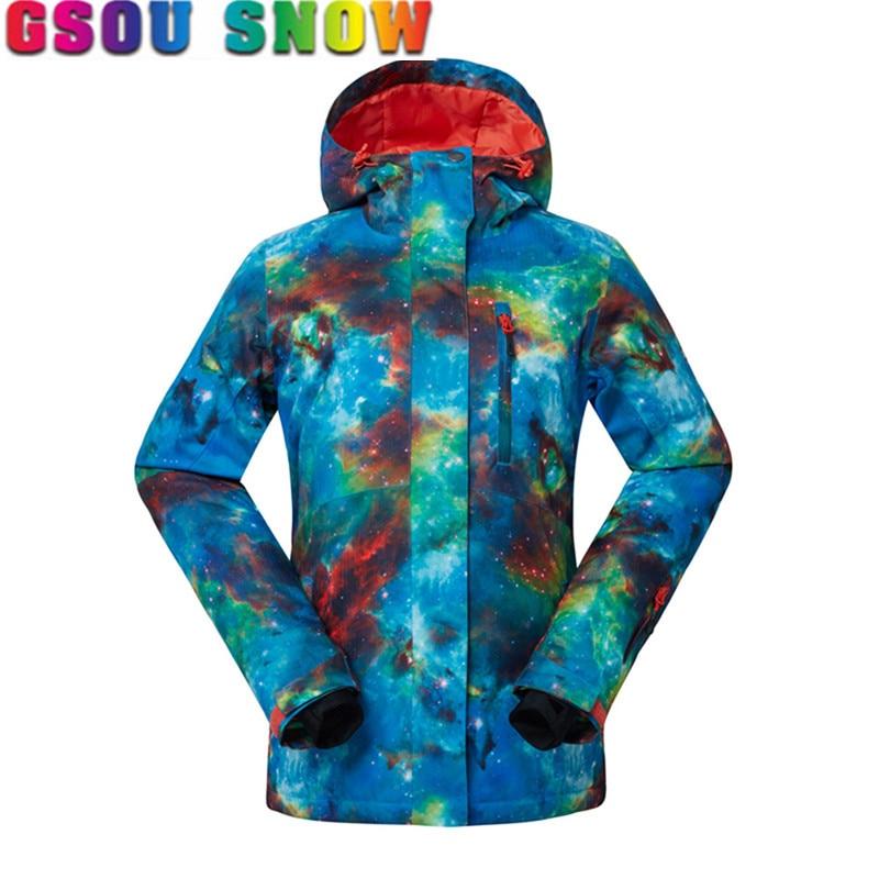 Gsou Snow Snowboard Jacket Women Winter Coat Cotton Pad Warmth Snowboard Jackets Waterproof Breathable Lady Ski Jacket Plus Size burton titan snowboard jacket canteen youth
