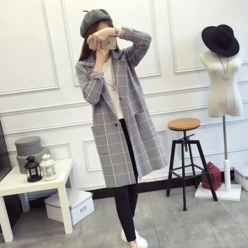 Et Vêtements Tricoté Cardigan Costume Chandail 2018 Nouveau gris Veste Longue Pour Noir Col Plaid Blouse Femmes marron rouge Avec Lâche De 5015 7qw8g7S