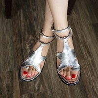 2016 Brand Summer Shoes Women Sandals Silver Gold Thong Flat Sandals Sandalias
