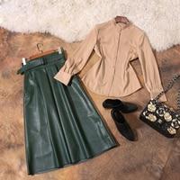 2017 Autumn Winter Fashionable Western Style Turn Down Collar Long Sleeve Blouse Self Cultivation Slim Skirt