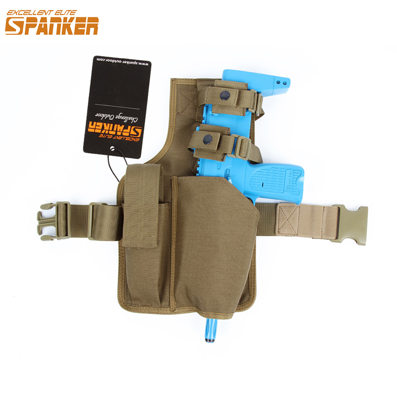 EXCELLENT ELITE SPANKER Tactical Hunting MP7 Gun Holster Leg hanging plate with Magazine Pouch Military Utility Leg Clip Bag excellent elite spanker military vertical id card credit card tactical holder two in one with adjustable