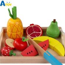 9 шт. детский деревянный поднос Магнитная резка фрукты игрушки фрукты и овощи десерт ролевые игры игрушки День рождения подарок для детей
