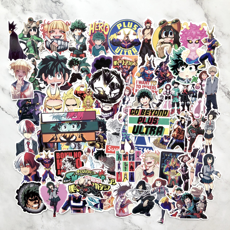 70pcs My Hero Academia Suitcase Stickers Laptop Skateboard Izuku Midoriya All Might Boku No Hero Academia Anime Character Decals