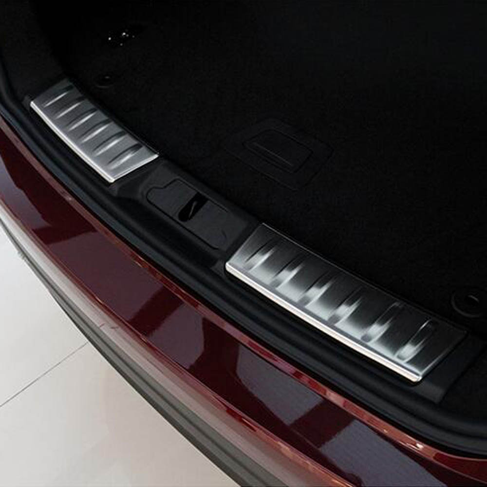 ФОТО rear door trunk threshold decorative protective board trim cover sticker for jaguar f pace f-pace interior Accessories