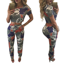 2016 fall summer woman set 2 piece sets women long pants and crop top tshirts ensemble femme short sleeve slim bodycon sexy