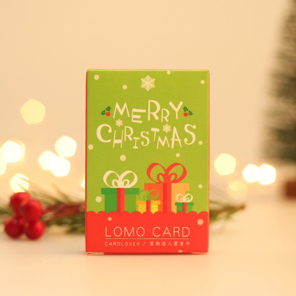 28 Cards/ Lot  Merry Christmas LOMO Card  52*80mm  Small Gift Card Mini Card Bookmark Message Card 350G Paper High Quality