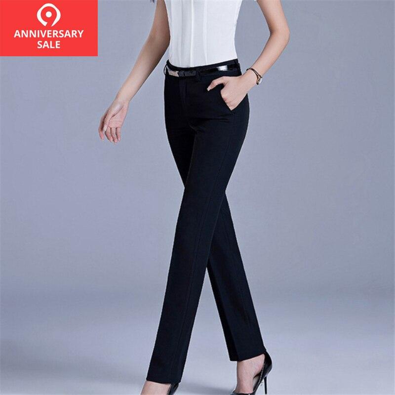 Black Trousers Women 2019 Autumn Spring Casual OL Formal Solid Pants Women Elegant Office Work Wear Straight Women's Pant