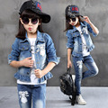 2017 Autumn Winter Kids Clothes Cowboy Suit 3 pcs Girls Outfits Jeans Cartoon Clothing Children Set 3-13 Years old Girl Clothes