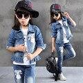 2017 Outono Inverno Crianças Roupas de Cowboy Terno 3 pcs Meninas calças de Brim Outfits roupa Dos Desenhos Animados Crianças Definir 3-13 Anos de idade Menina roupas