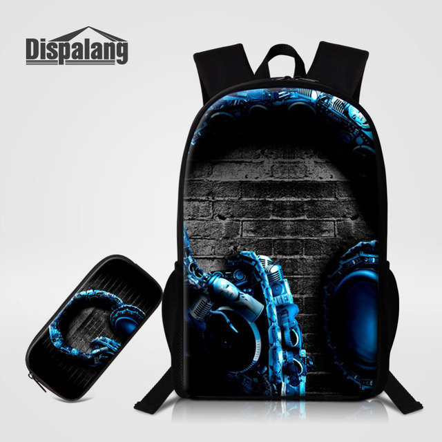 Dispalang 2pcs Headset Print Kids School Bags For Teenager Pencil Bag Music  Mens Women School Backpack with Pencil Case Mochila-in Backpacks from ... f2a50b1b0d0ab