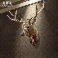 Европейские домашнего интерьера Ретро голова оленя бюро Вход стены смолы ремесленных исследование подвеска гостиная украшения