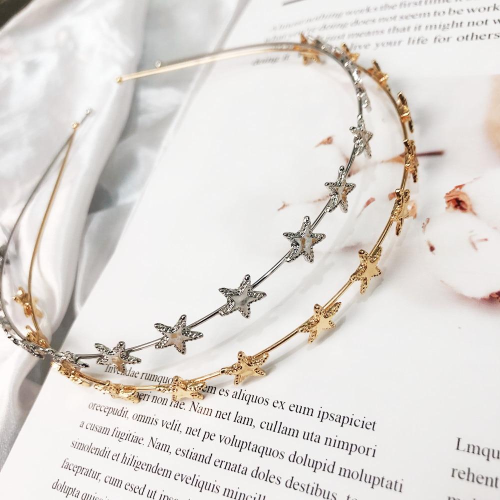 Headbands Star Headband Accessories Women Band Hair Jewelry Metal Pentagram