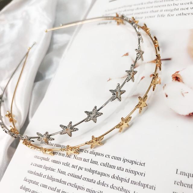 New Fashion Women Gold Silver Metal Pentagram Star Hairbands Geometric Thin Headbands Elegant Headdress