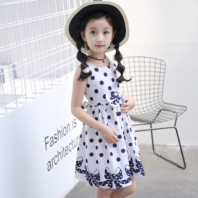 Baby Girl Summer Dress Children Girl Clothes Casual Dress for Girls Tutu Polka Dots Princess Bow Vest Dress Teen Girl Party Wear