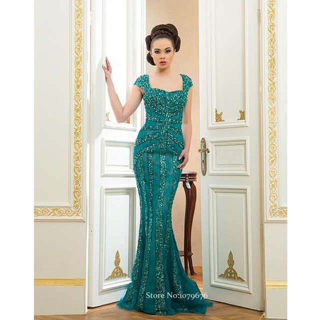 Arab Style 2015 Cap Sleeve Crystal Beaded Turquoise Women Dresses Sexy Long  Lace Evening Dress Mermaid Gowns Backless DSE011 bf013c348b93